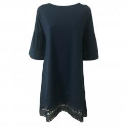 ALPHA STUDIO abito donna blu manica 3/4 art AD-1411O 95% cotone 5% elastane
