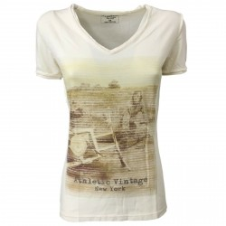 ATHLETIC VINTAGE NEW YORK t-shirt woman short sleeves 100% Cotton MADE IN ITALY