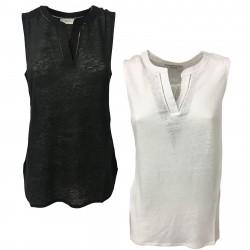 ALPHA STUDIO maglia donna senza manica jersey e tessuto mod AD-8540U 100% lino