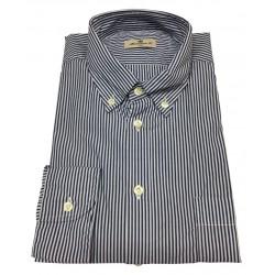 BRANCACCIO camicia uomo button-down blu/bianco con taschino NICOLA GOLD