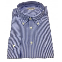 BRANCACCIO blue / white button-down man shirt NICOLA GOLD with pocket