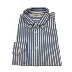 BRANCACCIO camicia uomo button-down azzurro/bianco NICOLA GOLD con taschino