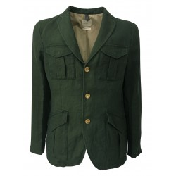 M.I.D.A. Giacca verde con tasche e toppa 100% lino