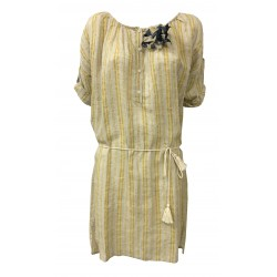 HUMILITY 1949 woman dress ecru/yellow 100% linen MADE IN ITALY
