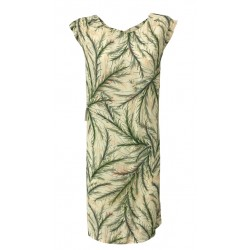 MY SUNDAY MORNING woman dress Ivory/Green mod ELLA 100% viscose