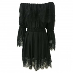 IL THE DELLE 5 woman dress black with lace art DORIS35 MADE IN ITALY