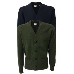 ASPESI cardigan uomo blu con tasche, bottoni in pelle 100% lana scozzese MADE IN ITALY vestibilità slim