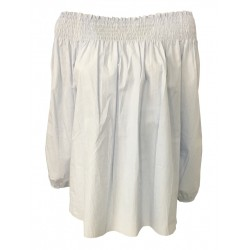 LA FEE MARABOUTEE women's shirt white / celeste 100% cotton MADE IN ITALY