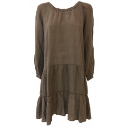 HUMILITY 1949 woman dress brown100% linen MADE IN ITALY