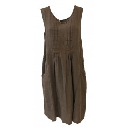 HUMILITY 1949 woman dress sleeveless brown 100% linen MADE IN ITALY