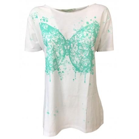 LA FEE MARABOUTE t-shirt donna mezza manica bianco 100% cotone MADE IN ITALY