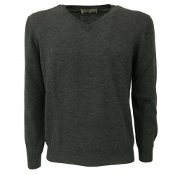 PANICALE knit man v Patch 100% wool MADE IN ITALY extra slim fit