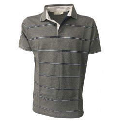 PANICALE Gray striped polo shirt 100% cotton thread from Scotland SLIM fit