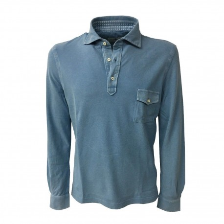 DELLA CIANA long sleeved polo shirt with pocket mod. 43370L Blue Emporio 100% cotton MADE IN ITALY