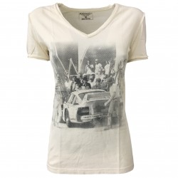 ATHLETIC VINTAGE NEW YORK t-shirt donna mezza manica CAR 100 % cotone MADE IN ITALY