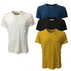 BKØ t-shirt uomo bianca con taschino mod DU17355 100% cotone MADE IN ITALY