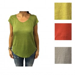 LA FEE MARABOUTEE T-shirt Donna manica corta 100% lino mod W7806