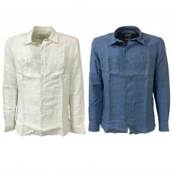 M.I.D.A camicia uomo manica lunga bianca 100% lino JAPANESE FABRIC