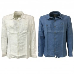 M.I.D.A. white man shirt long sleeve 100% linen JAPANESE FABRIC slim