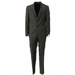 LUIGI BIANCHI MANTOVA man suit gray trousers + jacket art 3301 100% wool MADE IN ITALY regular slim
