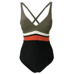 FEELING by JUSTMINE women's swimsuit black/dove gray/orange art A754C625 TRIBAL CHIC MADE IN ITALY