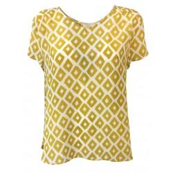 LA FEE MARABOUTEE women shirt mustard/ecru 100% silk