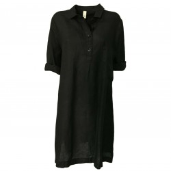 ETiCi woman dress black with pocket art A1/7104 100% linen MADE IN ITALY