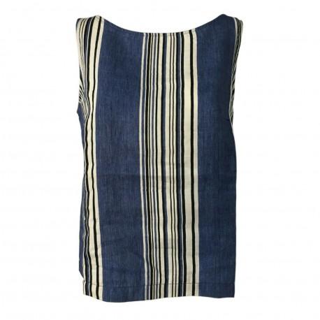 ETiCi woman tank top linen stripes denim sleeveless art C1/9674 MADE IN ITALY