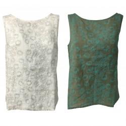 ETiCi woman tank top linen sleeveless art C1/9684 100% linen MADE IN ITALY