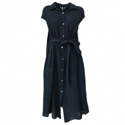 SOPHIE Abito donna blu con bottoni e cintura mod VIKE 100% lino MADE IN ITALY