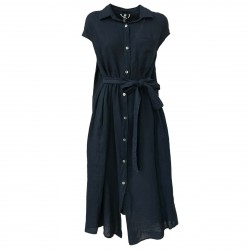 SOPHIE woman dress blue with belt mod VIKE 100% linen MADE IN ITALY