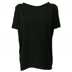 NEIRAMI Maxi t-shirt donna cotone nero mezza manica art B01 MADE IN ITALY