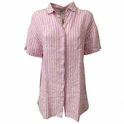 AND woman shirt pink with white stripes art D455E871M 100% linen