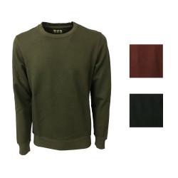 BKØ felpa uomo garzata verde militare 100% cotone mod SU17010 MADE IN ITALY