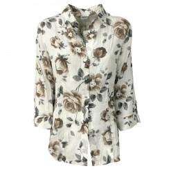 AND Camicia donna fantasia fiori art D714E832V 100% lino vestibilità slim