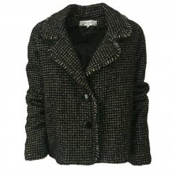 LA FEE MARABOUTEE woman jacket black/ecru mod FB1691 MADE IN ITALY