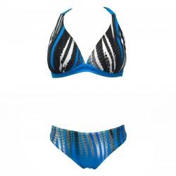 GIADAMARINA costume donna due pezzi a triangolo azzurro/nero mod 972 MADE IN ITALY