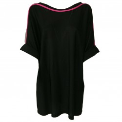 HANITA woman sweater viscose black/fucsia tulle details art H.T276.2143 MADE IN ITALY