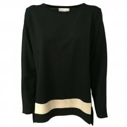 CORTE DEI GONZAGA GOLD woman sweater black/beige art 5410 100% wool MADE IN ITALY