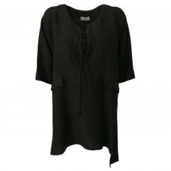 GARDEROBE DE SAINT TROPEZ Blusa donna nera art ST224 100% lino MADE IN ITALY