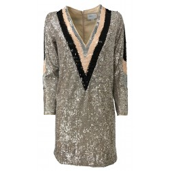 ISABELLE BLANCHE PARIS Woman long sleeve dress with sequins silver / black / powder mod A082-T012 MADE IN ITALY