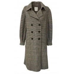 ISABELLE BLANCHE PARIS cappotto doppio petto piede de poule nero/bordeaux/moro J191-T034 MADE IN ITALY