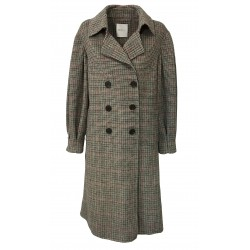 ISABELLE BLANCHE PARIS double-breasted coat de poule black / burgundy / brown J191-T034 MADE IN ITALY