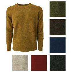 HAWICO Men's crew neck sweater BURNSIDE 100% shetland wool MADE IN SCOTLAND