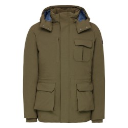 JOTT Men's down jacket with hood ANTARTIC STRETCH Khaki 50% polyamide, 40% polyester, 10% elastane