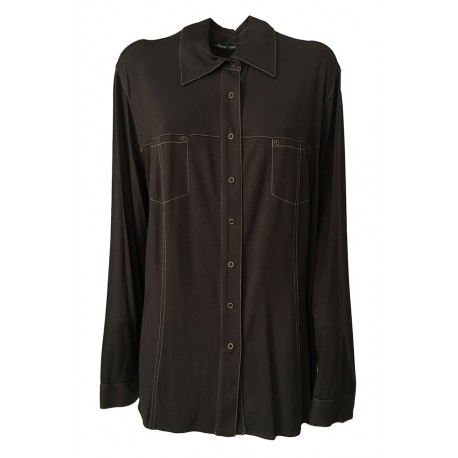 ELENA MIRÒ shirt woman jersey brown with snaps 94% viscose 6% elastane