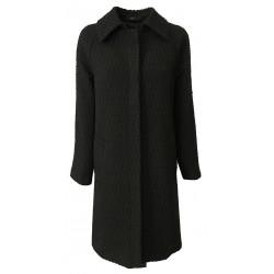 24.25 cappotto donna sfoderato nero in tessuto operato 2 bottoni mod DD19 538 MADE IN ITALY