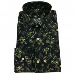 MGF 965 Camicia uomo fantasia fiori blu/verde/beige mod 14 100% cotone