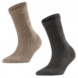 FALKE Calzini donna a coste misto cotone/lana con bordo art 46587 Free Style