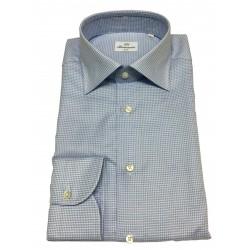 BRANCACCIO shirt man long sleeve white / blue micro pattern mod LUKE ABH1121